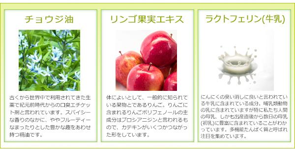 チョウジ油、リンゴ果実エキス、ラクトフェリン(牛乳)